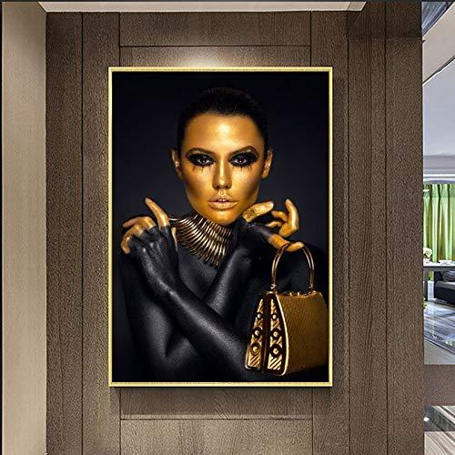 KWzEQ Leinwanddrucke Schwarzgold Frau Poster Bilder dekorativ für Raum Wohnkultur50x75cmRahmenlose Malerei