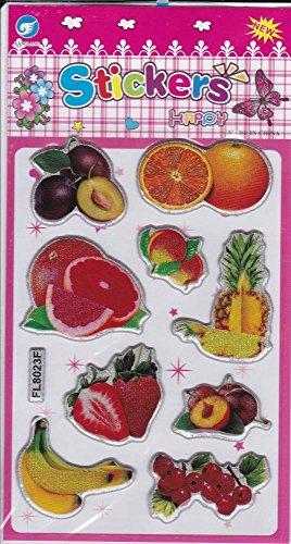 3D Fruits Decal autocollant de décalque 1 Dimensions de la feuille: 16 cm x 8 cm