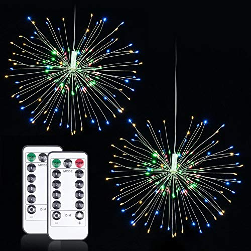 LED Fairy String Light Starburst with Remote Control Decorative Lights Bulbs Christmas Light Hanging 2 Pack Waterproof 8 Modes 120 LED Starry Lights Patio Fireworks Battery Operated Indoor Lighting