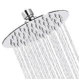 Sooreally Rain Shower Head High Pressure, 6 Inch Stainless Steel Rainfall Showerhead, Mirror-like Look, Easy Installation, Swivel Spray Angle, Voluptuous Shower Experience, Chrome Finish