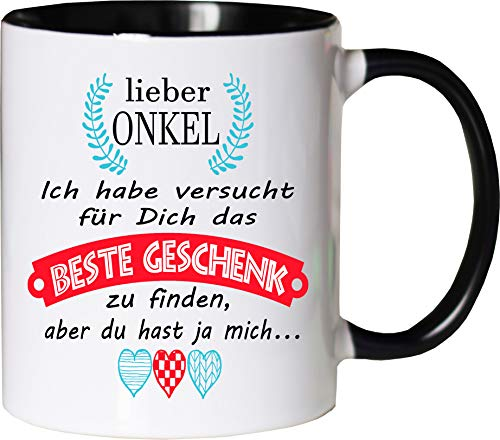 Mister Merchandise Becher Tasse Onkel Kaffee Kaffeetasse liebevoll Bedruckt Geschenkidee Familie Weiß-Schwarz