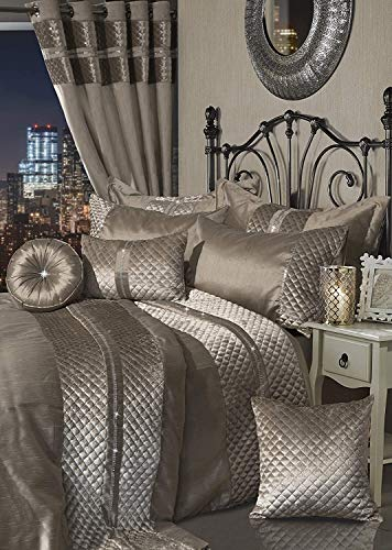 Voice 7 Pcs Comforter Bedroom Set Polyester Bedding (Duvet Cover + Two Pillow Cases + Fitted Sheet + Cushion Cover + Round Cushion Filled + Boudoir Cushion Filled) {Kylie Mink, Double Bed}