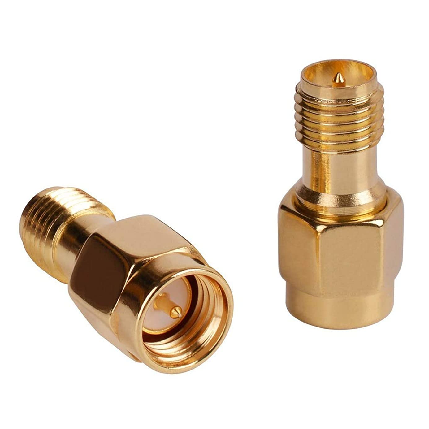Gimax ELEG-SMA Male Plug (Pin) to RP-SMA Female (Pin) Coupling Nut Connector Adapter for Wi-Fi Antenna/Signal Booster/Repeaters - (Color: Gold)