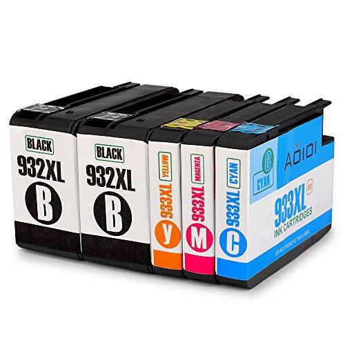 Aoioi 932XL 933XL Tintenpatronen Ersatz für HP 932XL 933XL Druckerpatronen Kompatibel mit HP Officejet 6600 6700 Premium 6100 7612 7110 7610 Patronen (2 Schwarz, 1 Blau, 1 Rot, 1 Gelb)