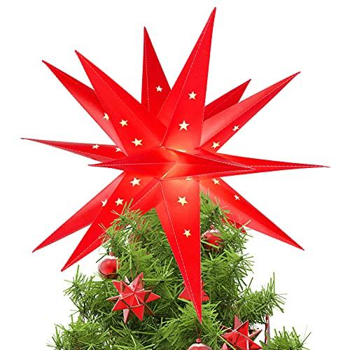 3D Weihnachtsstern Beleuchtet Fenster Batterie mit Timer - 45cm led Weihnachtsbaumspitze Stern, Leuchtstern Stern Zum Dekorieren von Weihnachtsbaum, Innenhof, Balkon Und Garten - Qijieda(Red)