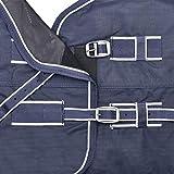Outdoordecke Economic High Neck, 200 g, Unisex, Marineblau / Weiß, 145 cm