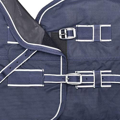 Waldhausen Coperta da esterno con collo alto, per cavalli, 200 g/m2., Unisex adulto, navy/bianco