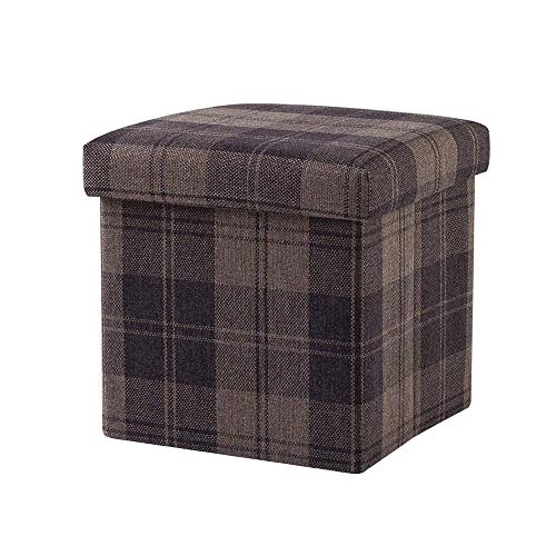 B-fengliu Antique Square Storage Ottoman Cube Retro Imitation Linen Soft Pouffe Upholstered Footstool Fiberboard Household Chest Storage Box Entrance Adults Change Shoes Bench