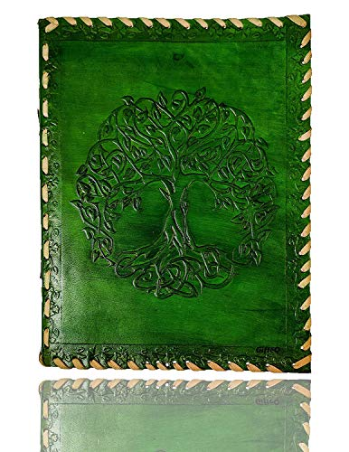 GifteQ Handmade Vintage Leather Bound Diary/Journal/Notebook/Writing Book (Blank) with Engraved Tree of Life Design for Girls/Boys/Men/Women (Green, 9')