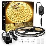 Onforu 10M LED Strip Dimmbar, 3000K Warmweiß LED Streifen, 12V Flexibel LED Band, Selbstklebend 2835 Lichtband, 600 LEDs Innen Klebestreifen Leuchtband, Indirekte Beleuchtung für Küche, Schrank, Bett