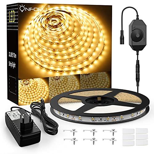 Onforu 10M LED Strip Warmweiss, 12V LED Streifen Dimmbar, 600er 2835 LEDs Flexibel LED Band, 3000K Warmweiß Lichtband Selbstklebend, Klebestreifen für Deko, Party, Küche, Schrank, Zimmer, Bett