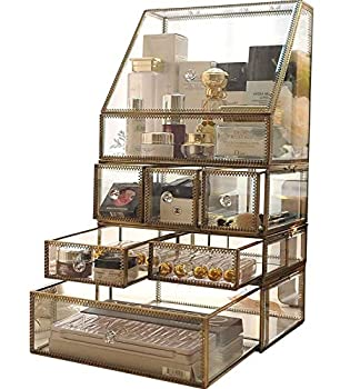 KCGNBQING Clear Glass Makeup Organiser Jewelry Cosmetic Storage Box with 6 Drawers Antique Classic Handmade Vanity Display Case Beauty Stackable Set for Palette/Skincare/Perfume/Lipstick Cosmetic st
