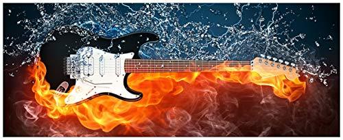Wallario Acrylglasbild XXL Feuer-Wasser-Gitarre - 80 x 200 cm in Premium-Qualität: Brillante Farben, freischwebende Optik