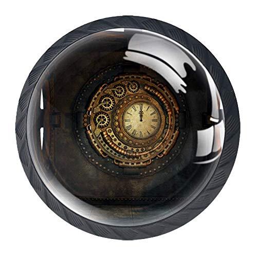 Steampunk-Uhr, runde Knöpfe, Kristallglas, Ziehgriffe mit Schrauben, für Möbel, Schranktüren, Kommoden, Schrank, Schublade, Kleiderschrank, 4 Stück