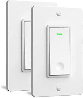Aoycocr Smart Light Switch 2-Pack - Neutral Wire Needed, Single Pole, 2.4Ghz Wi-Fi Light Switch 110-240V, Easy to Install, Compatible with Alexa, Google Assistant, Schedule, Remote Control, FCC Listed