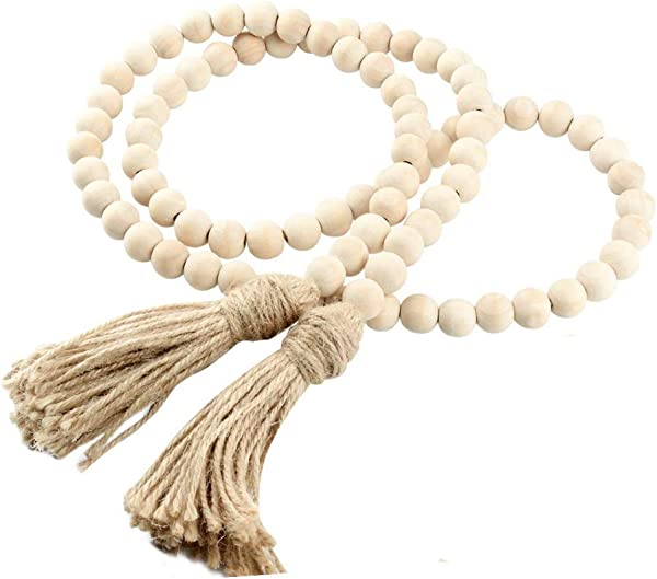AceAcr Wood Bead Garland Farmhouse Beads With Tassels Rustic Home Decor Prayer Beads