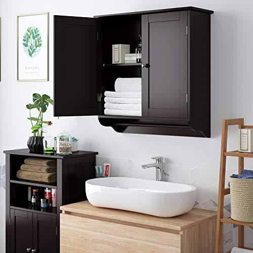 HOMFA Bathroom Wall Cabinet, Over The Toilet Space Saver Storage Cabinet Kitchen Medicine Cabinet Doule Door Cupboard with Adjustable Shelf and Towel Bar, Dark Brown