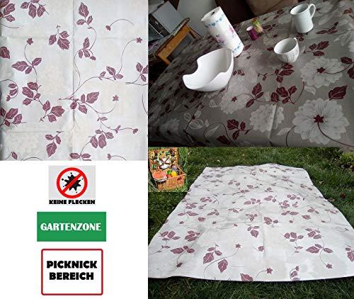 VEZODEK Outdoor Tischdecke Abwaschbar - Wachstuch Tischdecken für Draußen Tisch Decken Wachstuchtischdecke Meterware, Gartentischdecke Eckig Picknickdecke Grau Wachstischdecke Blumen
