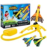GARUNK Jump Flying Rocket Stunt Planes, 3 Foam Plane and Plane Launcher Toys for Boys and Girls, Outdoor Rocket Toy Gift, Family Game for for Ages 5 (6, 7, 8) and Up