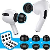 [6 Pairs] RIYO Memory Foam Ear Tips for AirPods Pro, Noise Isolation Earbuds with Fit in The Charging Case (S/M/L, Black)