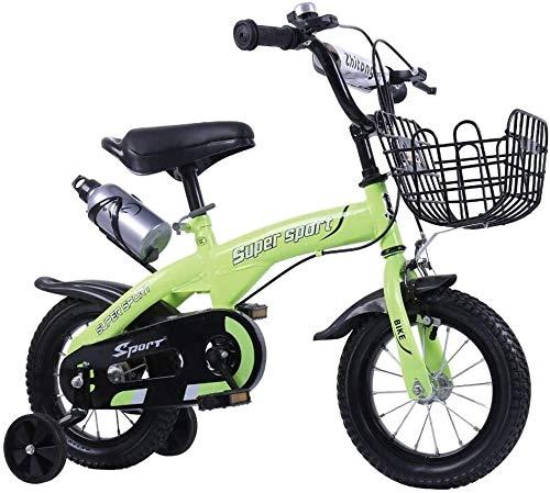 Biciclette for Bambini con la Bottiglia Ruota di Formazione Sport Guida SICURA 12/14/16/18 Pollici Biciclette 2-9 Anni Bambini Practice Esterno Gioco in Bicicletta (Color : Green, Size : 16 inch)