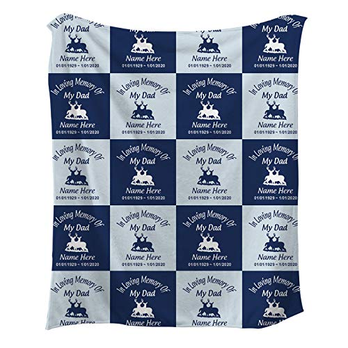 NIWAHO in Loving Memory of Dad Gifts - Personalized Sympathy Blankets Gifts with Father's Name and Deer - Bereavement Memorial Gifts for Loss of Grandpa