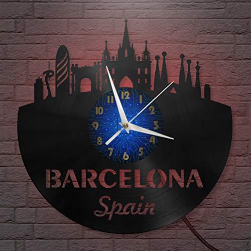 Reloj de Pared LED con Disco de Vinilo de Barcelona de 12 Pulgadas, Reloj de Pared de Vinilo para Cocina, hogar, Sala de Estar, Dormitorio (B, con LED), decoración