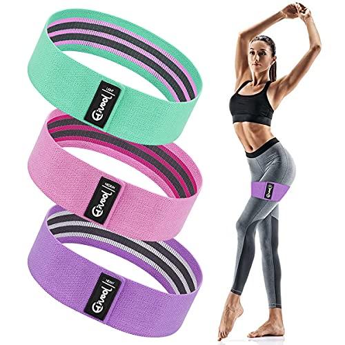 Hivool Juego de 3 Bandas Elásticas para Ftness, 3 Niveles de Resistencia Antideslizante Cintas Elasticas Musculacion, Entrenamiento para Glúteos, Piernas, Brazos, Traje para Yoga, Pilates, Gimnasio