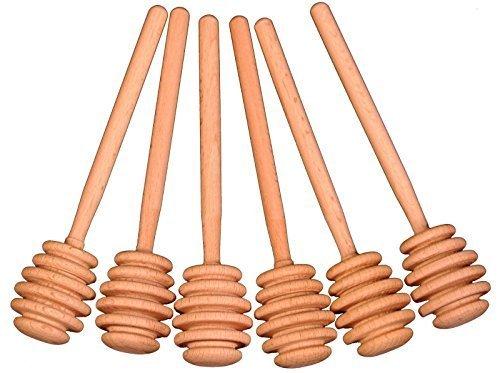 Set of 6 Honey Dipper Wood Stick Server for Honey Jar Dispense Drizzle Honey
