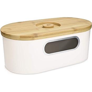 Navaris Boîte à Pain - Corbeille de Conservation du Pain 34,2x18,6x13 cm avec Couvercle en Bambou - Panière de Rangement pour Gâteau Baguette