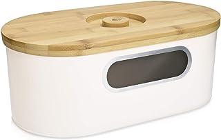Navaris Panera con Tapa de bambú - Recipiente para Pan con Tapa de Madera y Tabla de Cortar - Caja Vintage para Guardar el Pan en la Cocina