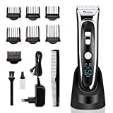 Cordless Hair Clippers for Men Professional Head Hair Trimmer Grooming Kit Haircut Machine, Electric and Rechargeable Hair Cutting Set with 6 Guide Combs for Personal Barber