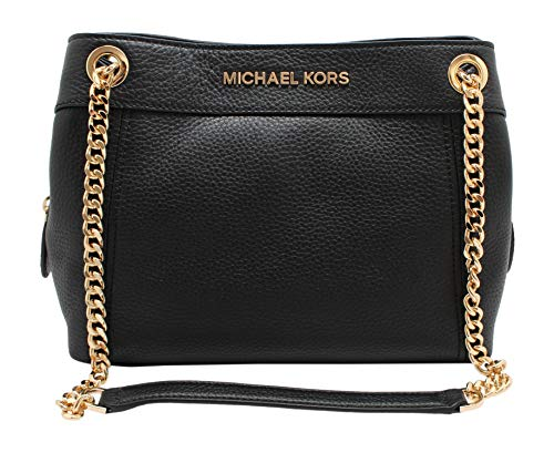 "Size Approximate Measurements: . 10.5"" L X 8"" H x 4"" D Pebbled Leather, Michael Kors Lettering on Front Magnetic Snap Closure, Color: Black, Gold Tone Hardware One Center Zip Compartment, Interior One Slip Pocket and One Zip Pocket Dual Leather and C..."