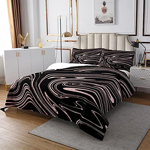 Marmor Bettüberwurf Schwarz Rosa Marmor Tagesdecke 220x240cmfür Kinder Mädchen Frauen Abstrakte Flüssigkeit Luxus Dekor Steppdecke Nordic Schlafzimmer Sammlung 3St