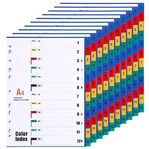 [10 unidades] Divisores de archivo A4 1-12 12 partes, A4 PP sujetos divisores para oficina en el hogar, multicolor, 11 agujeros perforados reforzados, separadores de plástico numerados