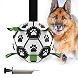 Dog Soccer Ball, Interactive Dog Toys Balls for Large Medium Dogs with Grab Tabs,Rubber Dog Tug/Water Toy for Outdoor,Indestructible Durable Giant Presents Gifts Ball for Small Dogs, 6 Inch