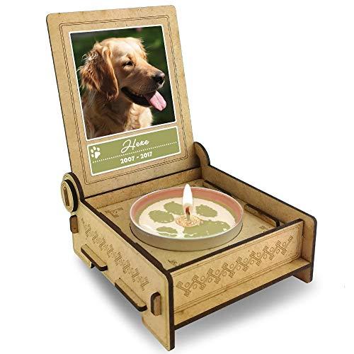 TROSTLICHT Hund, personalisierte Trauerkerze Hund, Trauergeschenk Hund Erinnerung, Gratis e-Book, Haustier Andenken Hund, statt Trauerkarte Hund (Spruch: Pfoten)