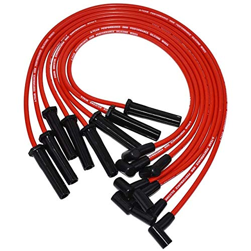 A-Team Performance Red Silicone Spark Plug Wires Set 90 Degree Black Boot for HEI Distributor Ignition Coil Accessories Compatible With Mopar Chrysler Dodge 318 360 8.0mm