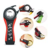 Jar Opener, Upgraded- 5 in 1 Multi Function Can Opener Set, Bottle Opener Kit with Silicone Handle...