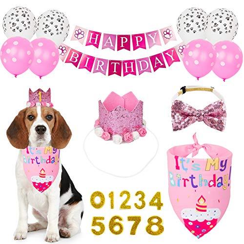 PTDECOR Dog Birthday Bandana Hat Set, Birthday Girl Dog Hat Scarf Bow tie Happy Birthday Banner Balloon Dog First Birthday Party Supplies Decorations (Birthday Girl)