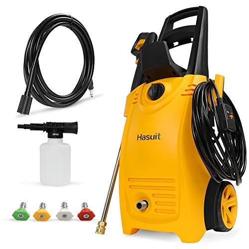 Hasuit Electric Pressure Washer, 3800 PSI 2.8 GPM High Power Washer, 1900W Pressure Washer Machine with 35ft Power Cord, 20ft Hose Reel, 4 nozzles, Best for Cleaning Patio, Car, Fence
