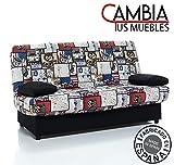 CAMBIA TUS MUEBLES - Sofa Cama ARC Clic clac desenfundable con arcn 2 plazas 100 X 290 cm (Gran Ruta)