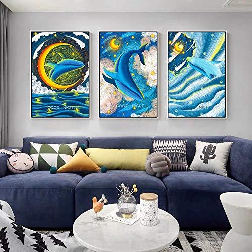 kldfig Cartoon dier blauwal vliegen in de kamer canvas schilderij Goede nacht muurkunst drukken sprookjes voor kinderkamer kinderkamer decoratief - 40x60cmx3 niet ingelijst