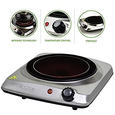 Ovente Electric Glass Infrared Burner 7 Inch Single Hot Plate with Temperature Control, 1000 Watts, Fire Resistant Metal Housing, Indicator Light, Compact and Portable, Silver (BGI101S), One