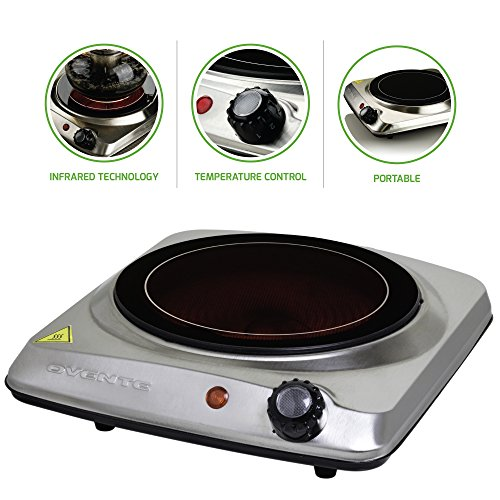 Ovente Electric Glass Infrared Burner 7 Inch Single Hot Plate with Temperature Control, 1000 Watts, Fire Resistant Metal Housing, Indicator Light, Compact and Portable, Silver (BGI101S)