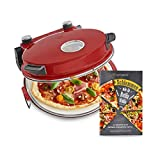 Horno para Pizzas Peppo, Máquina para preparar pizzas como al horno de piedra a 350°C, temporizador e indicador luminoso, incluye 2 volteadores grandes de pizza - rojo