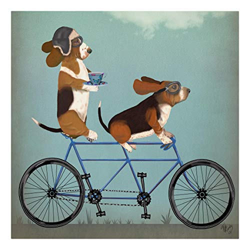 Bilderwelten Stampa su Tela XXL Dipinti - Ciclismo - Tandem Bassets - Quadrato 120 x 120 cm