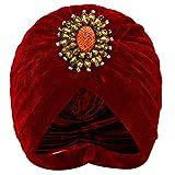 Coucoland - Cappello turbante da donna con spilla di cristallo stile anni '20, fascia per capelli esotica, retrò, turbante indiano, costume di carnevale rosso vivo Taglia unica