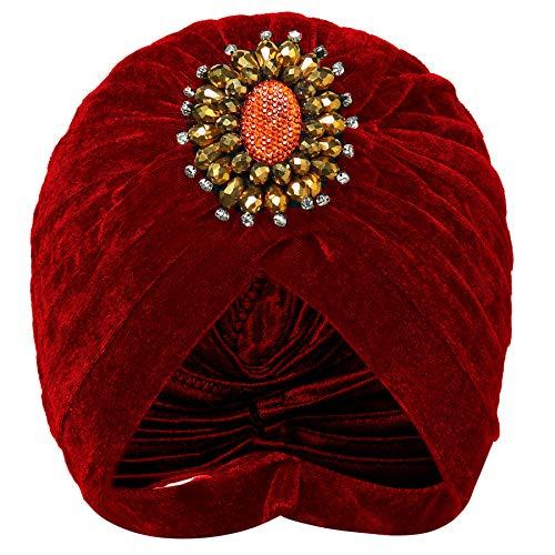 Coucoland Damen Turban Hut mit Kristall Brosche 1920s Haarband Exotisch Retro Indischer Turban Hut Damen Fasching Kostüm Accessoires (Weinrot)