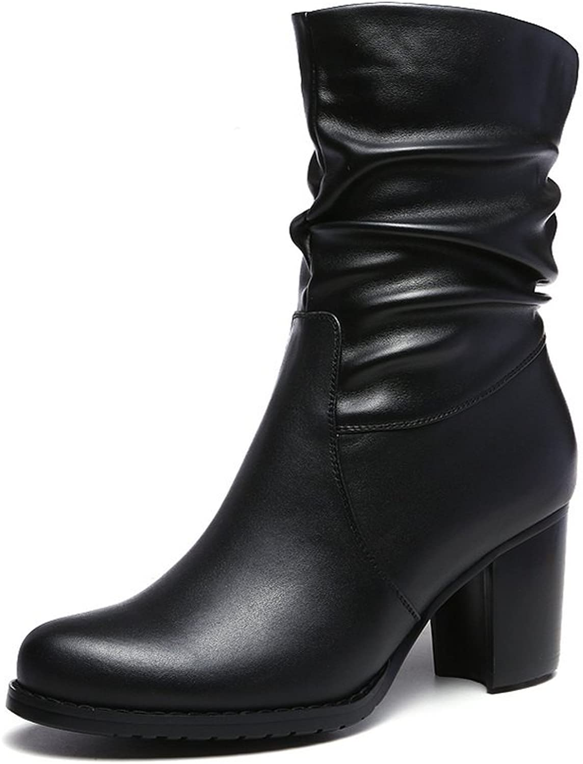 BalaMasa Ladies Chunky Heels Zipper Round Toe Frosted Boots